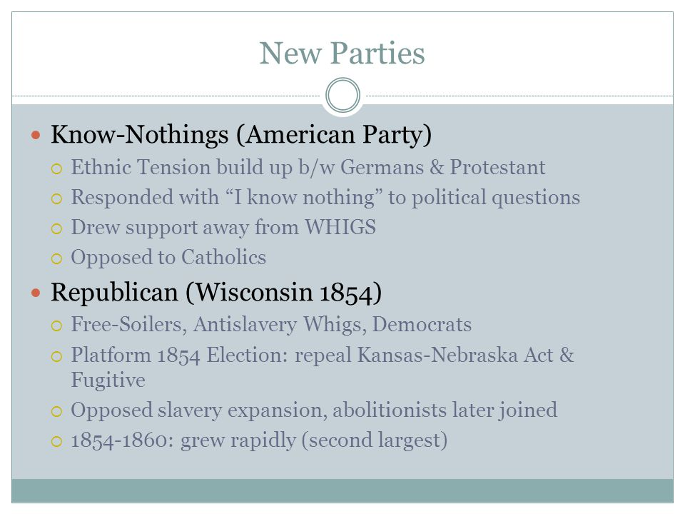 """New Parties Know-Nothings (American Party)  Ethnic Tension build up b/w Germans & Protestant  Responded with """"I know nothing"""" to political questions"""