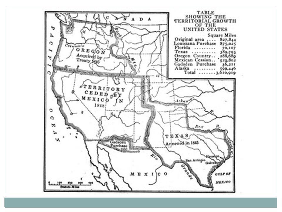 Texas Oregon Mexico Independent from Spain 1823 By 1830: More Americans than Mexicans Friction Developed b/w groups Annexation denied (Jackson, Van Buren) Slavery Allowed 4 Countries claimed lands Adams-Onis Treaty 1819: US got claims to Oregon from Spain Discovered Columbia River Captain Robert Gray 1792 Expedition (Lewis & Clark) Texas & Oregon