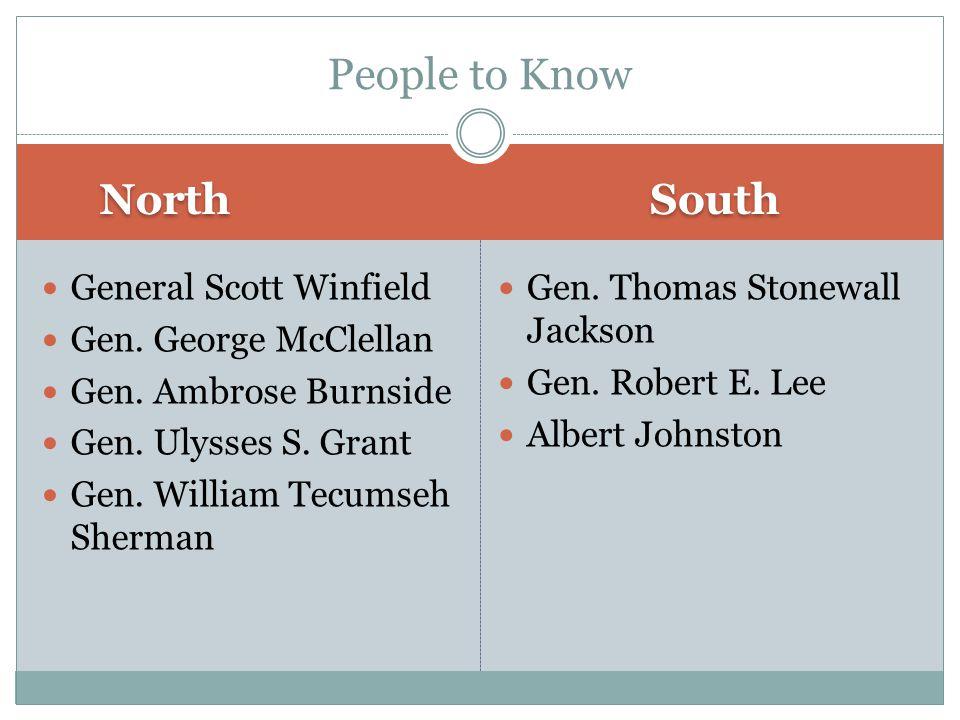 North South General Scott Winfield Gen. George McClellan Gen. Ambrose Burnside Gen. Ulysses S. Grant Gen. William Tecumseh Sherman Gen. Thomas Stonewa