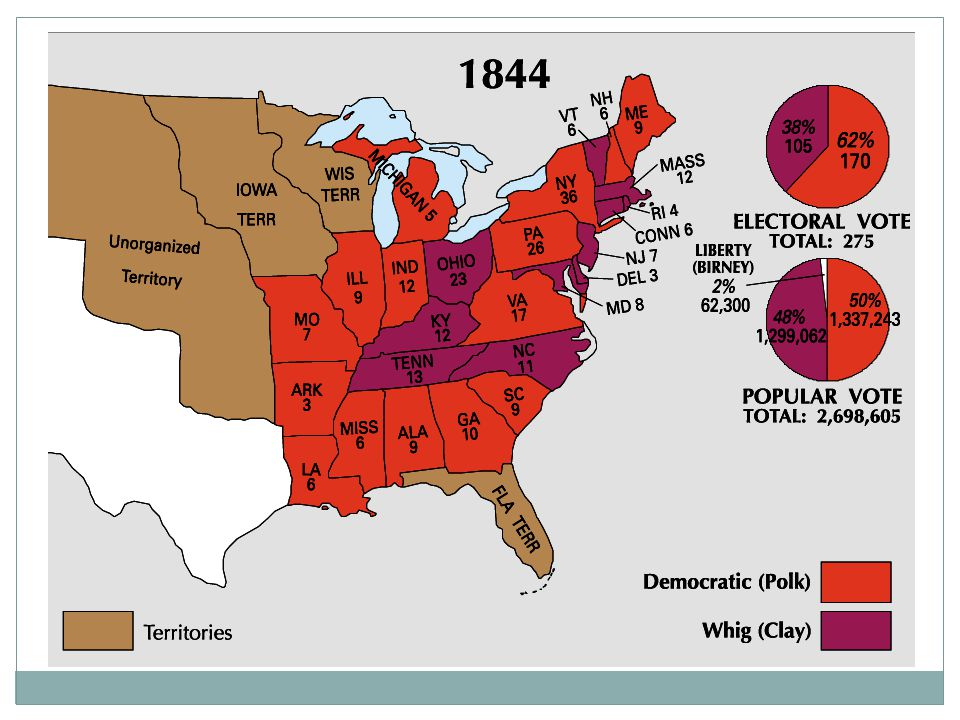 War with Mexico US annexed Texas w/o Mexican consent  Also wanted California Polk sent John Slidell to make negotiations but failed Army was moved (Gen.