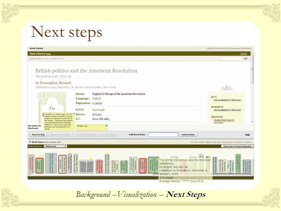 Next steps Background –Visualization – Next Steps