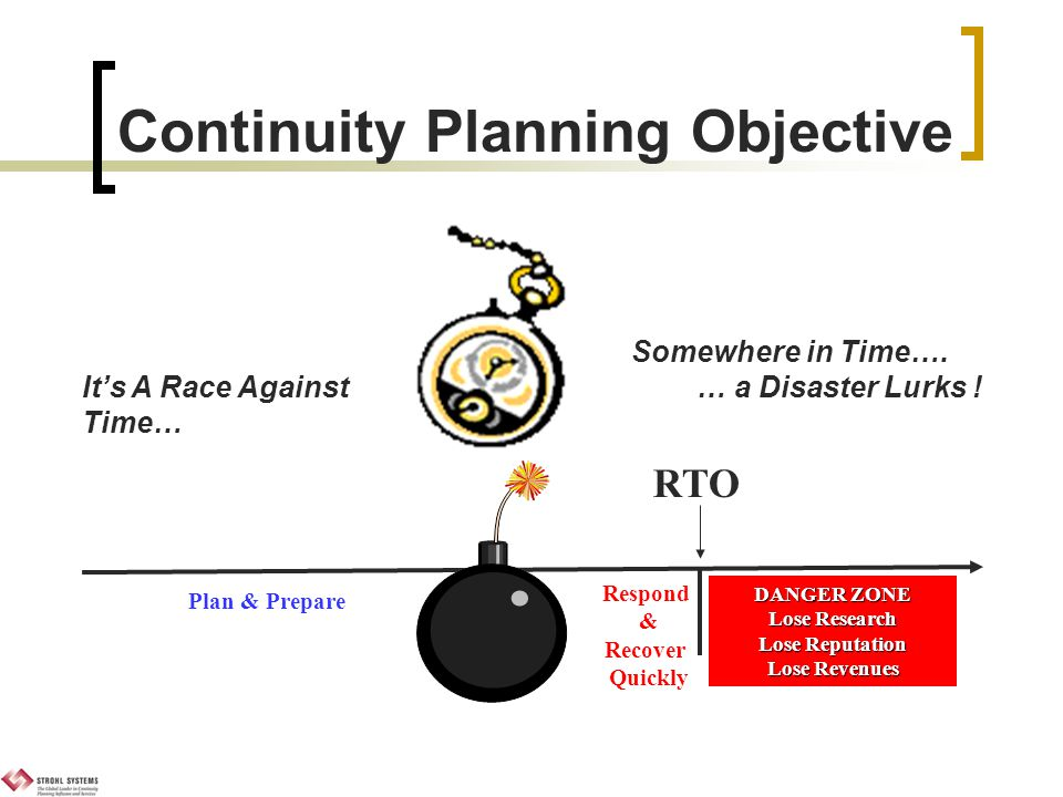 Continuity Planning Objective DANGER ZONE Lose Research Lose Reputation Lose Revenues Somewhere in Time….