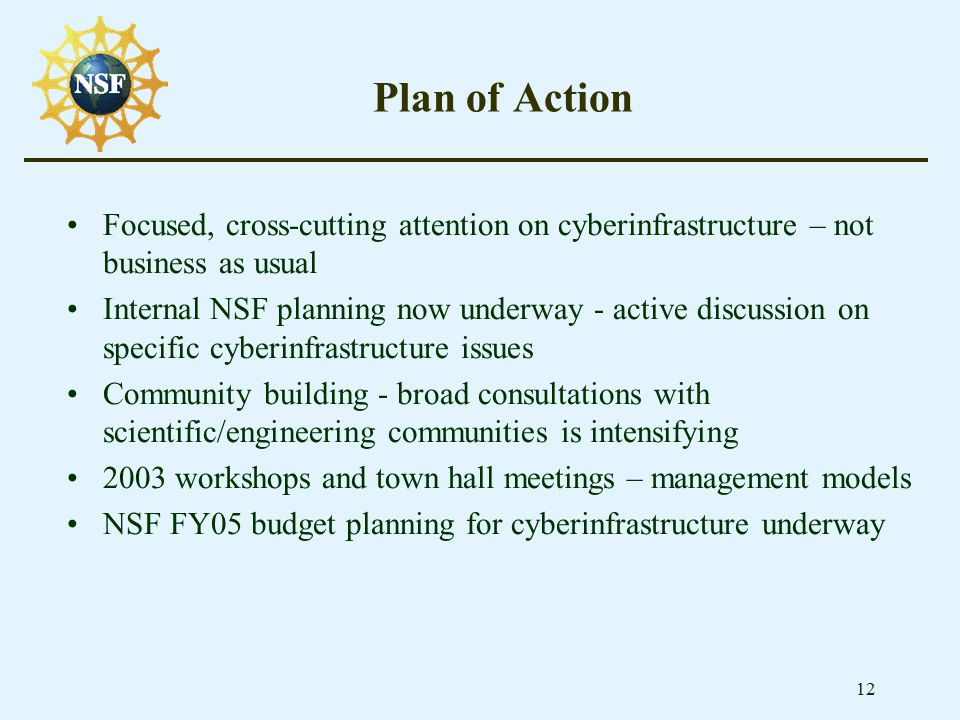 12 Plan of Action Focused, cross-cutting attention on cyberinfrastructure – not business as usual Internal NSF planning now underway - active discussi