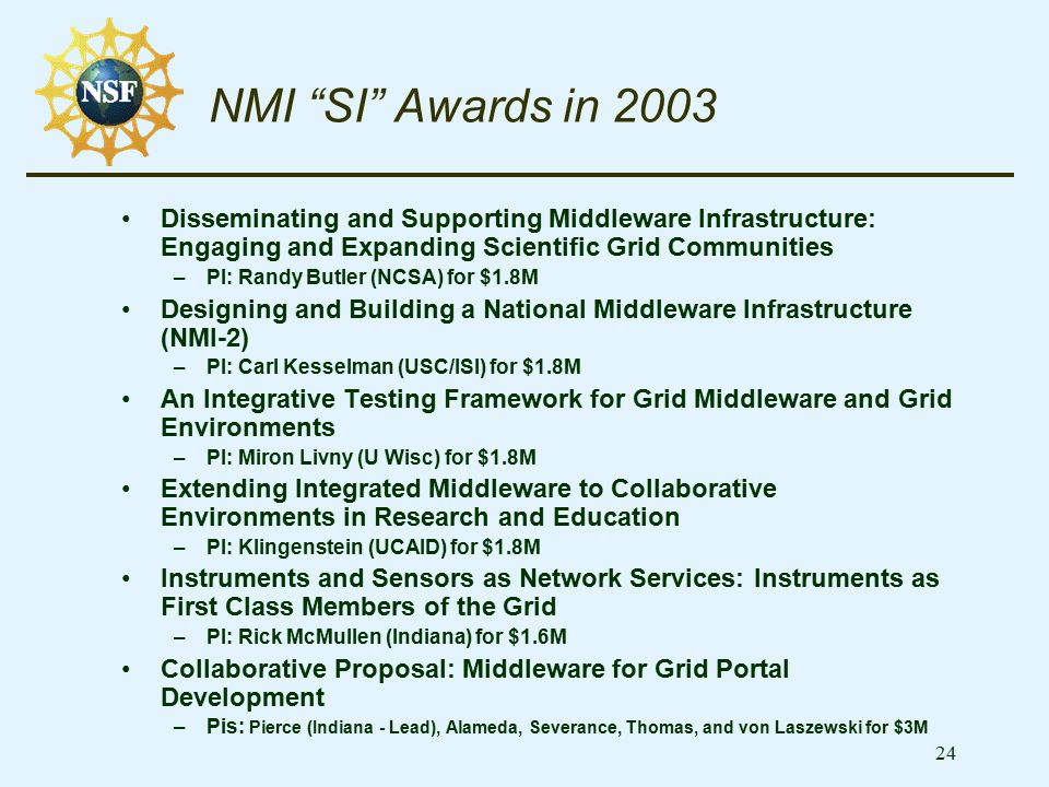 "24 NMI ""SI"" Awards in 2003 Disseminating and Supporting Middleware Infrastructure: Engaging and Expanding Scientific Grid Communities –PI: Randy Butle"