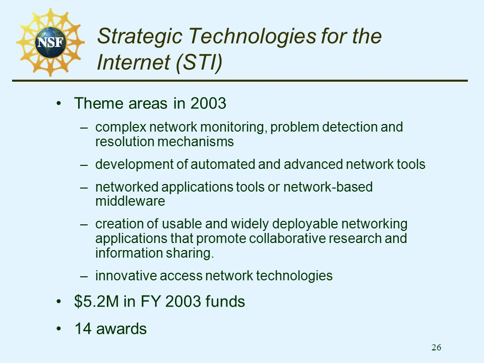 26 Strategic Technologies for the Internet (STI) Theme areas in 2003 –complex network monitoring, problem detection and resolution mechanisms –develop