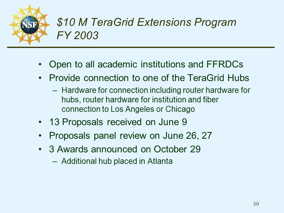 30 $10 M TeraGrid Extensions Program FY 2003 Open to all academic institutions and FFRDCs Provide connection to one of the TeraGrid Hubs –Hardware for