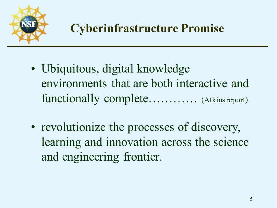 5 Cyberinfrastructure Promise Ubiquitous, digital knowledge environments that are both interactive and functionally complete………… (Atkins report) revol