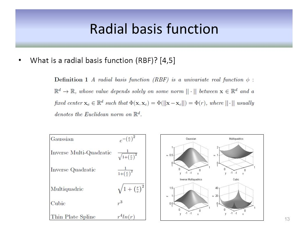 Radial basis function What is a radial basis function (RBF)? [4,5] 13