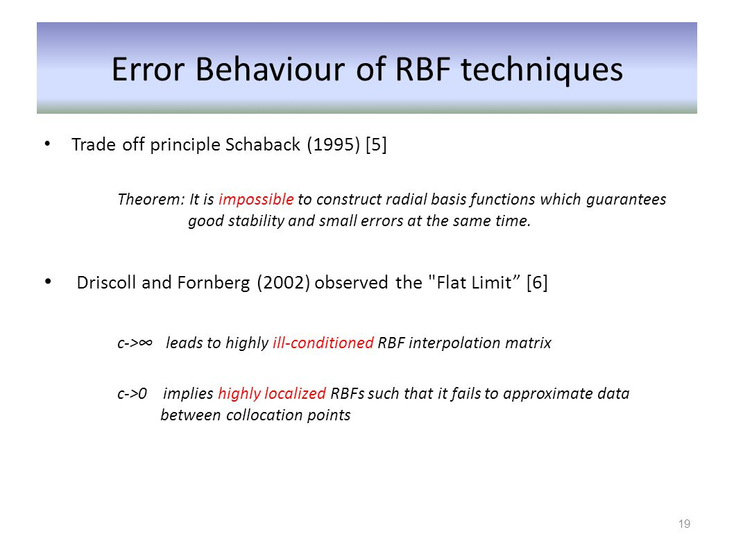 Error Behaviour of RBF techniques Trade off principle Schaback (1995) [5] Theorem: It is impossible to construct radial basis functions which guarante