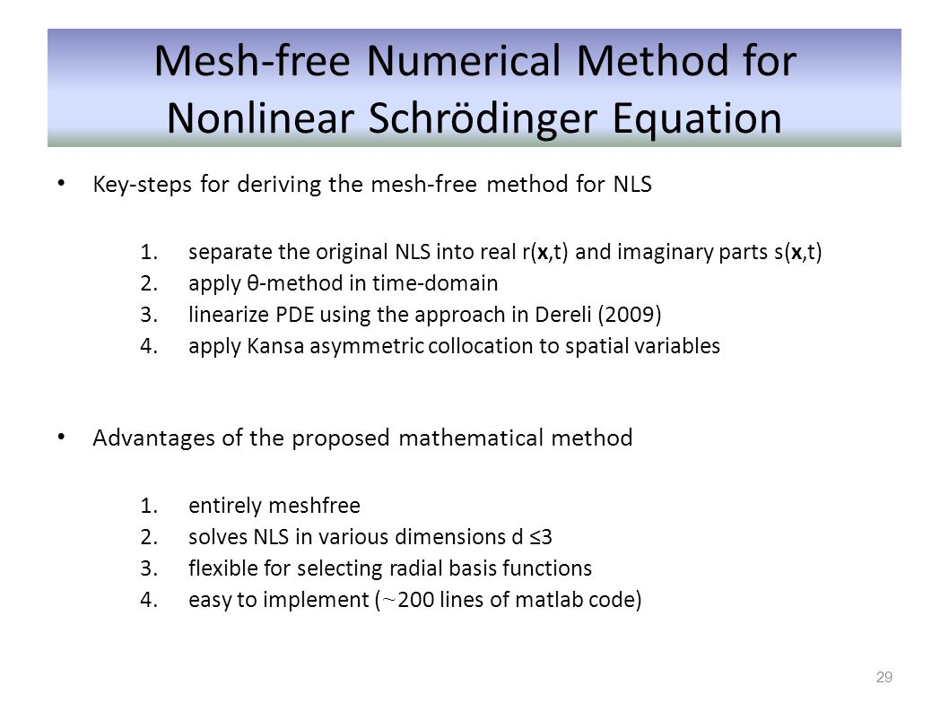 Mesh-free Numerical Method for Nonlinear Schrödinger Equation Key-steps for deriving the mesh-free method for NLS 1.separate the original NLS into rea