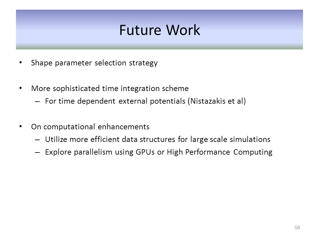 Future Work Shape parameter selection strategy More sophisticated time integration scheme – For time dependent external potentials (Nistazakis et al)