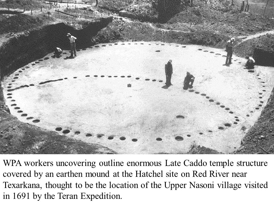 WPA workers uncovering outline enormous Late Caddo temple structure covered by an earthen mound at the Hatchel site on Red River near Texarkana, thoug