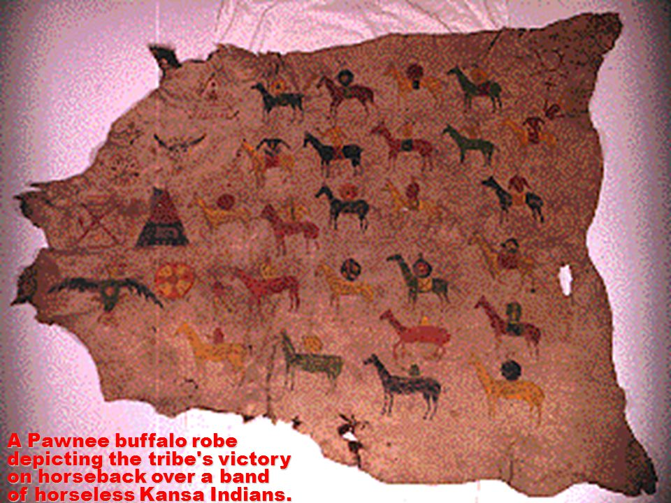 A Pawnee buffalo robe depicting the tribe's victory on horseback over a band of horseless Kansa Indians.