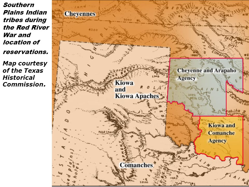 Southern Plains Indian tribes during the Red River War and location of reservations. Map courtesy of the Texas Historical Commission.