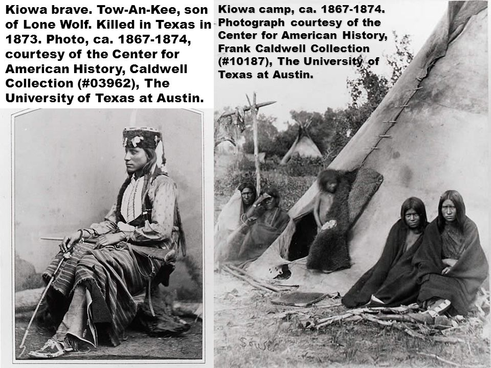 Kiowa brave. Tow-An-Kee, son of Lone Wolf. Killed in Texas in 1873. Photo, ca. 1867-1874, courtesy of the Center for American History, Caldwell Collec