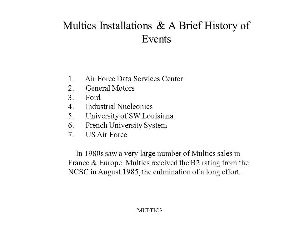 MULTICS Multics Installations & A Brief History of Events 1.
