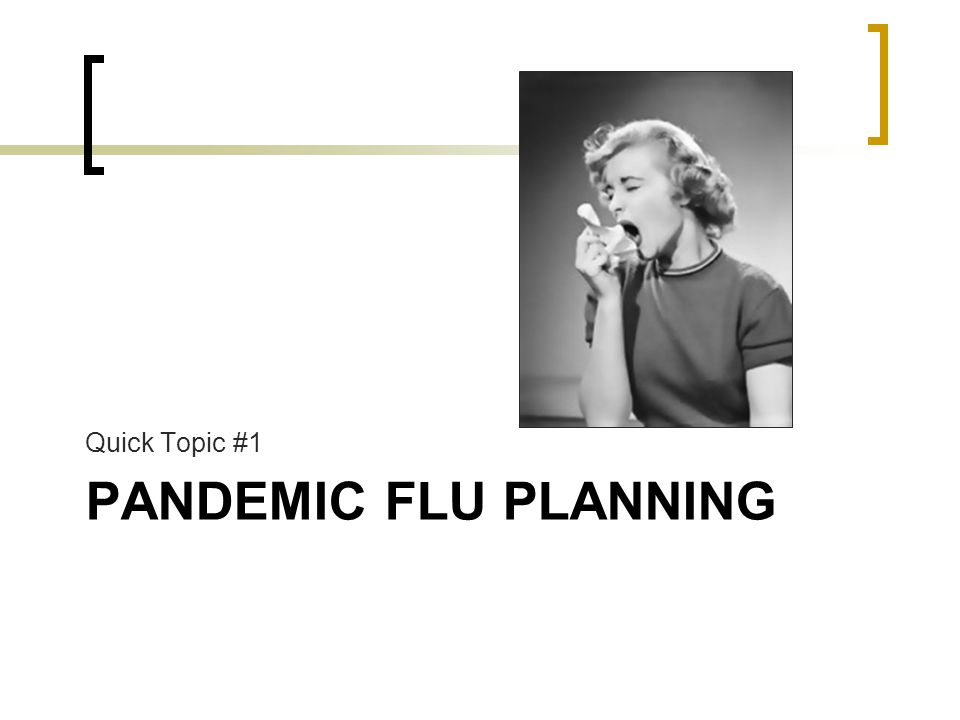 PANDEMIC FLU PLANNING Quick Topic #1