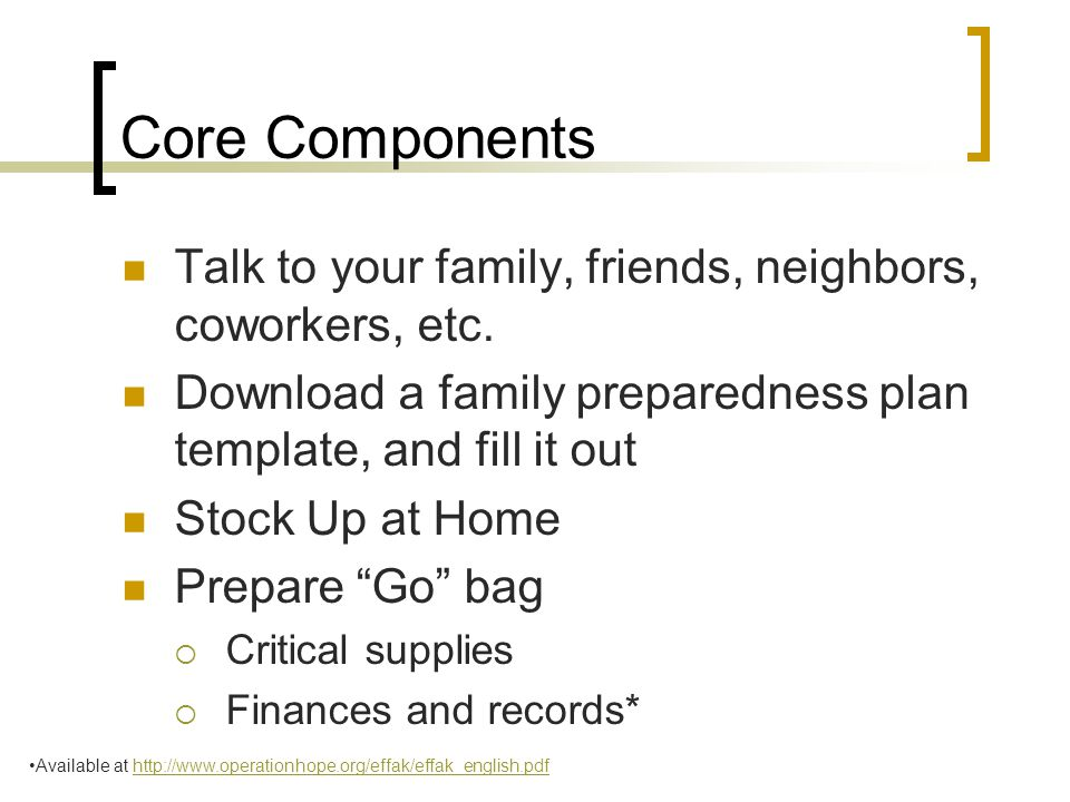 Core Components Talk to your family, friends, neighbors, coworkers, etc.