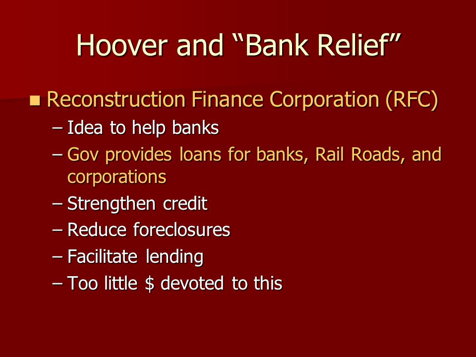 Hoover's International Economic Policy Protectionist measures= tariffs  reduces trade Protectionist measures= tariffs  reduces trade Smoot-Hawley Tariff high tariff Smoot-Hawley Tariff high tariff Didn't help the economy Didn't help the economy