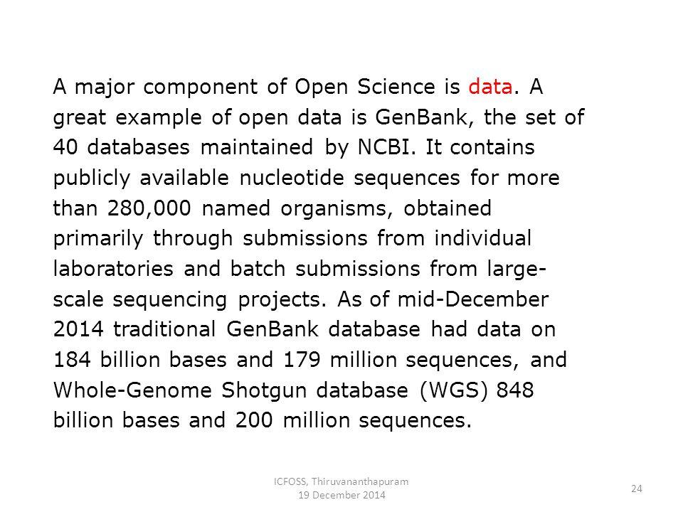 ICFOSS, Thiruvananthapuram 19 December 2014 24 A major component of Open Science is data.