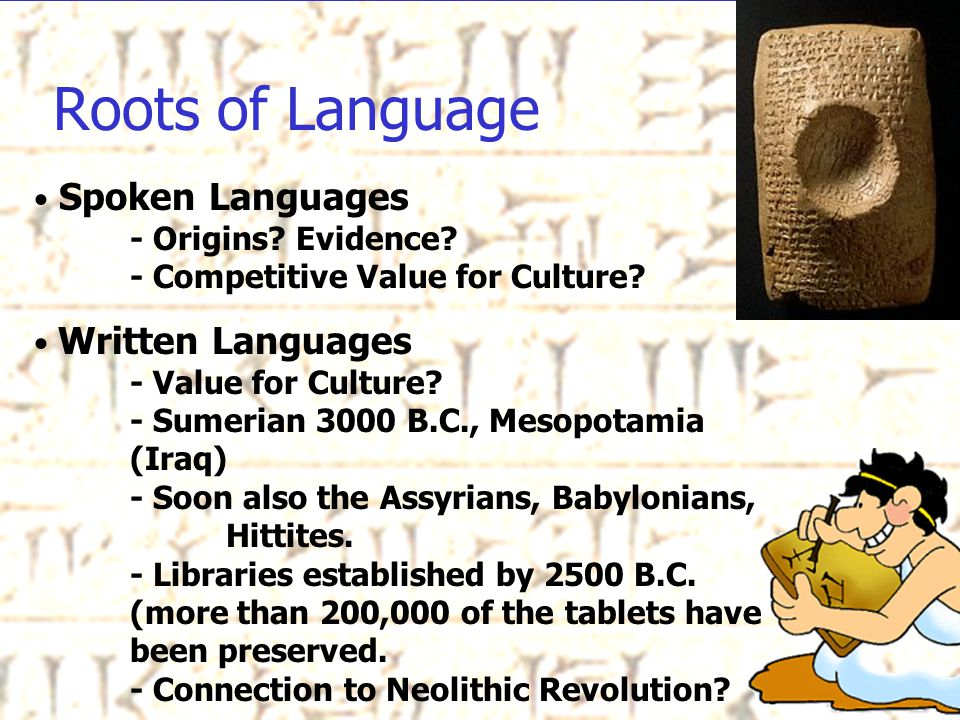Roots of Language Spoken Languages - Origins. Evidence.