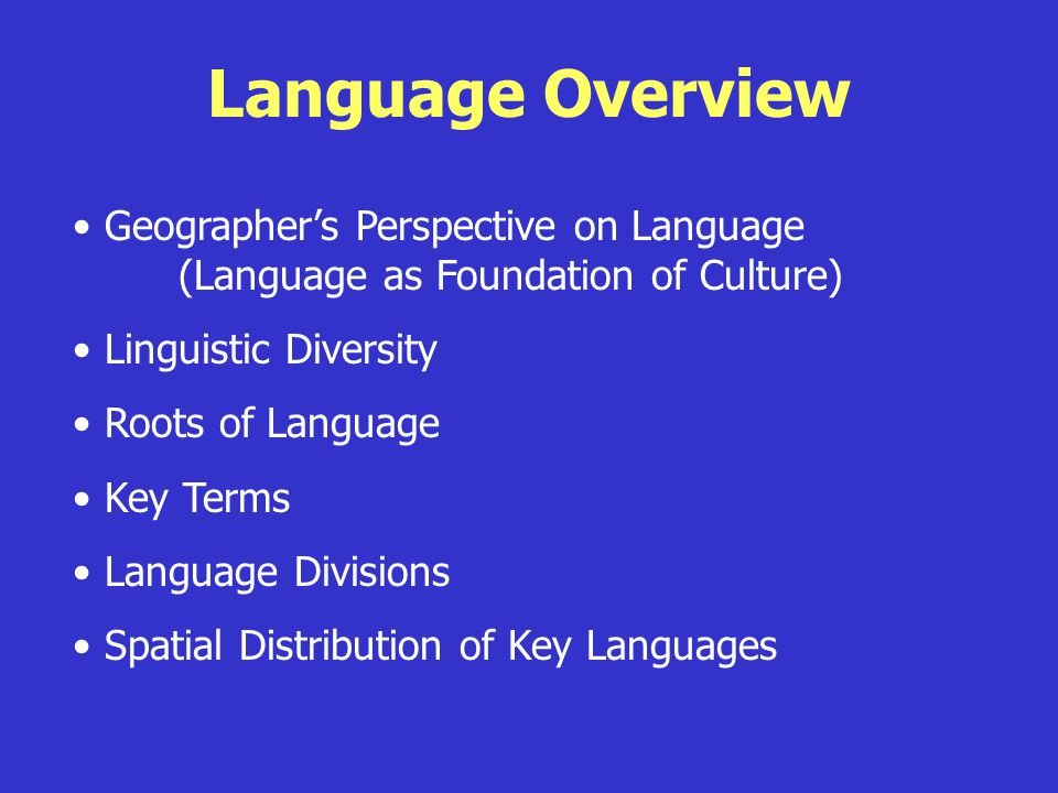 Language Overview Geographer's Perspective on Language (Language as Foundation of Culture) Linguistic Diversity Roots of Language Key Terms Language D