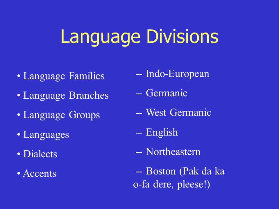 Language Divisions Language Families Language Branches Language Groups Languages Dialects Accents -- Indo-European -- Germanic -- West Germanic -- English -- Northeastern -- Boston (Pak da ka o-fa dere, pleese!)