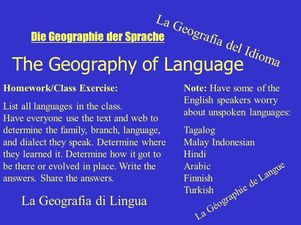 The Geography of Language La Geografía del Idioma La Géographie de Langue La Geografia di Lingua Die Geographie der Sprache Homework/Class Exercise: List all languages in the class.