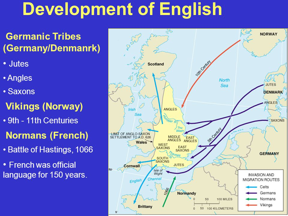 Development of English Germanic Tribes (Germany/Denmanrk) Jutes Angles Saxons Vikings (Norway) 9th - 11th Centuries Normans (French) Battle of Hastings, 1066 French was official language for 150 years.