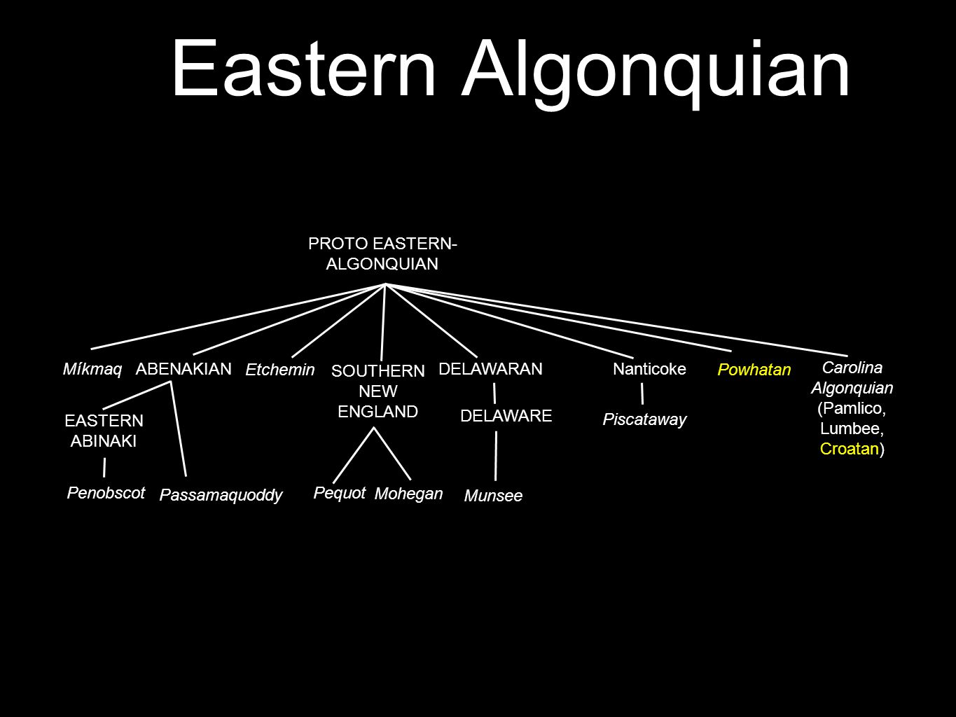 Eastern Algonquian Plains [areal reconstruction] Blackfoot, Arapahoan, Cheyenne Central [areal reconstruction] Cree-Montagnais, Menominee, Ojibwe, Pot