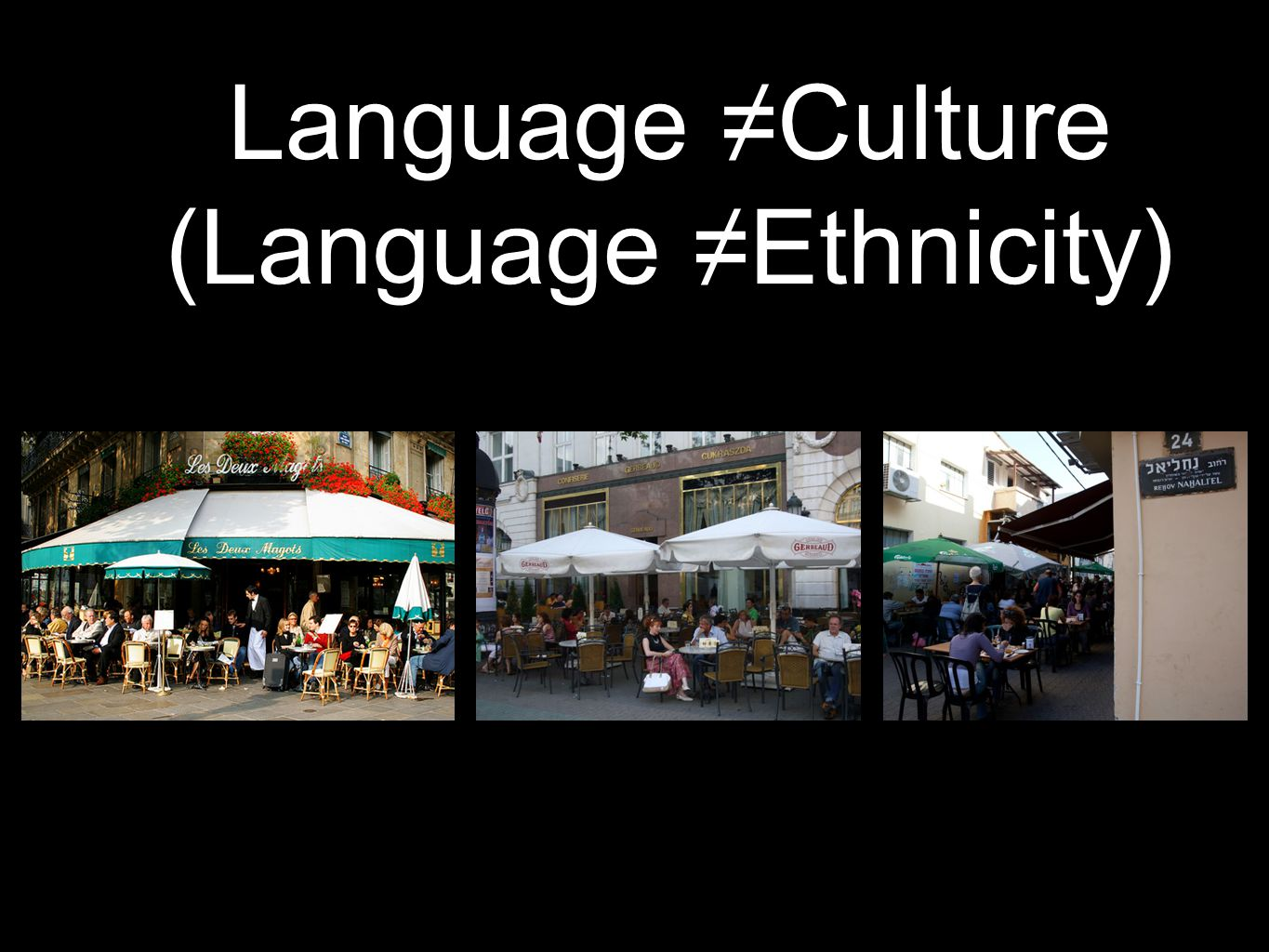 Language ≠Culture (Language ≠Ethnicity)