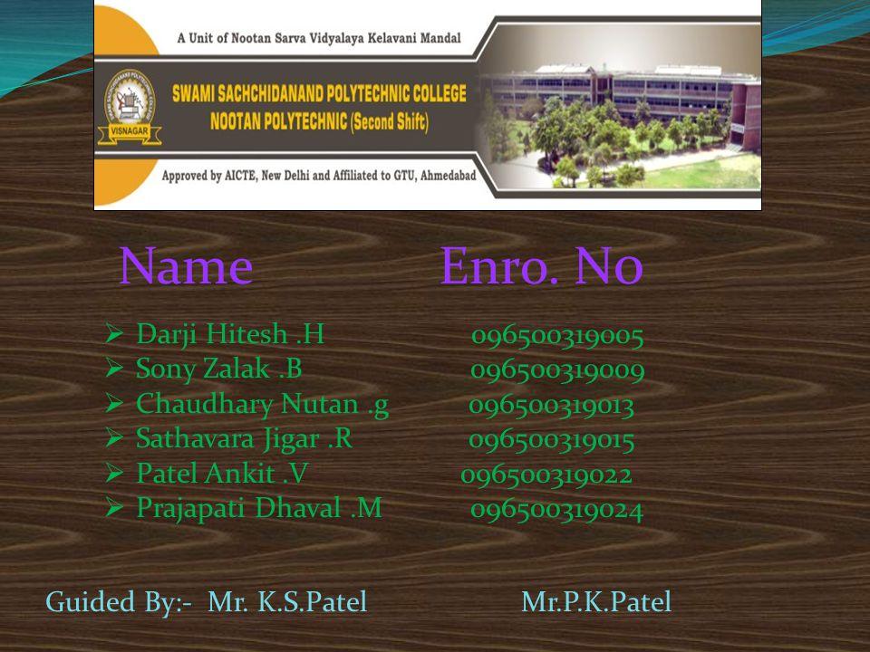 Darji Hitesh.H 096500319005  Sony Zalak.B 096500319009  Chaudhary Nutan.g 096500319013  Sathavara Jigar.R 096500319015  Patel Ankit.V 0965003190