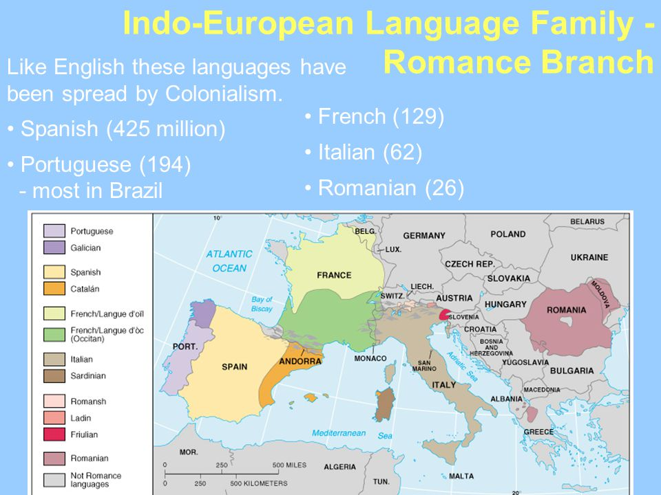 Indo-European Language Family - Romance Branch Like English these languages have been spread by Colonialism. Spanish (425 million) Portuguese (194) -