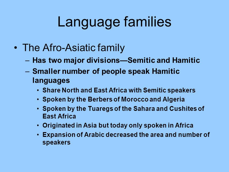 Language families The Afro-Asiatic family –Has two major divisions—Semitic and Hamitic –Smaller number of people speak Hamitic languages Share North and East Africa with Semitic speakers Spoken by the Berbers of Morocco and Algeria Spoken by the Tuaregs of the Sahara and Cushites of East Africa Originated in Asia but today only spoken in Africa Expansion of Arabic decreased the area and number of speakers