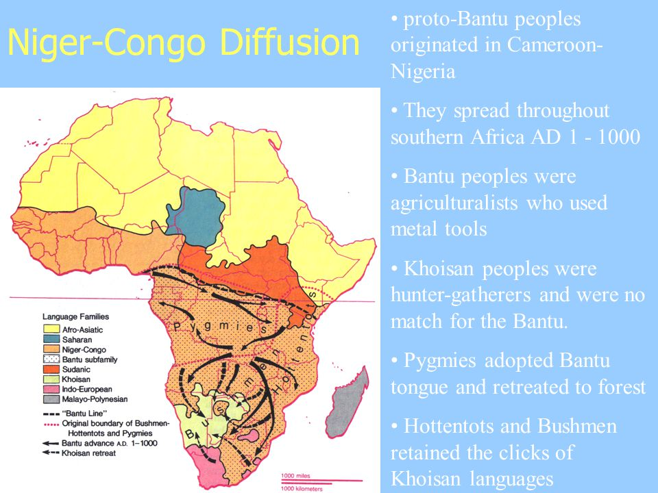 Niger-Congo Diffusion proto-Bantu peoples originated in Cameroon- Nigeria They spread throughout southern Africa AD 1 - 1000 Bantu peoples were agriculturalists who used metal tools Khoisan peoples were hunter-gatherers and were no match for the Bantu.
