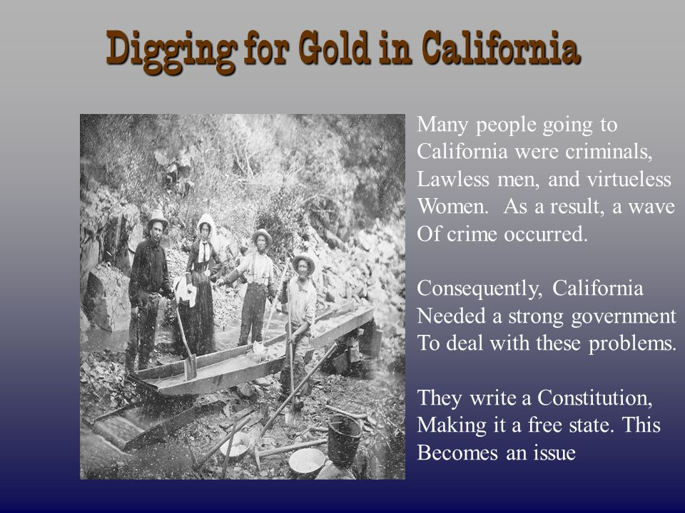 Digging for Gold in California Many people going to California were criminals, Lawless men, and virtueless Women. As a result, a wave Of crime occurre