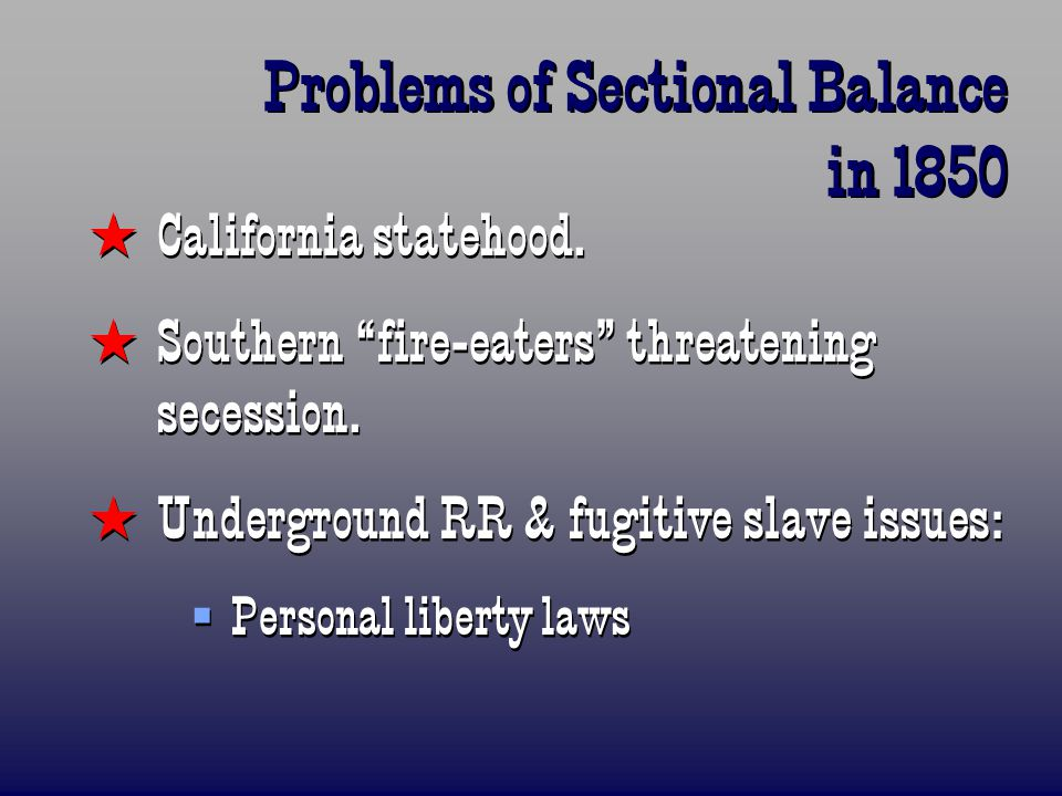 Problems of Sectional Balance in 1850  California statehood.