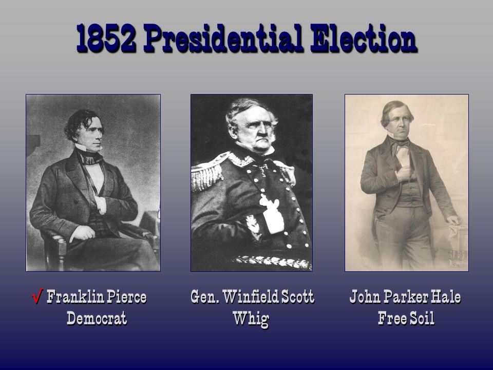 1852 Presidential Election √ Franklin Pierce Gen.