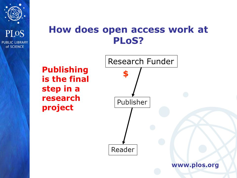 www.plos.org Research Funder Publisher Reader $ How does open access work at PLoS.