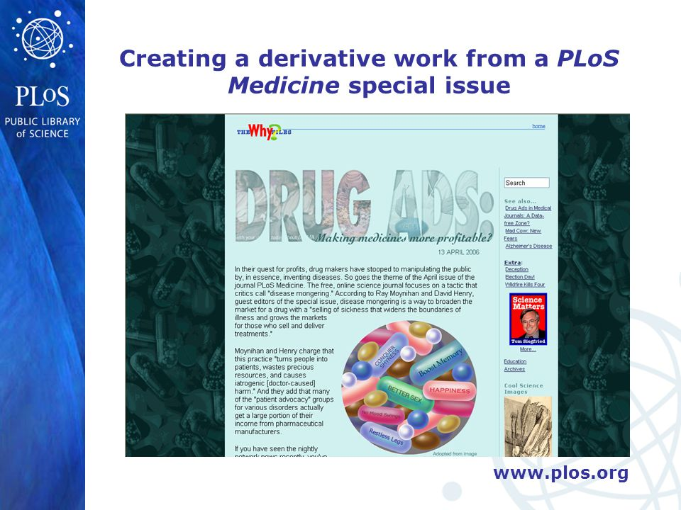 www.plos.org Creating a derivative work from a PLoS Medicine special issue