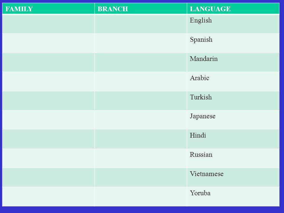 FAMILYBRANCHLANGUAGE English Spanish Mandarin Arabic Turkish Japanese Hindi Russian Vietnamese Yoruba