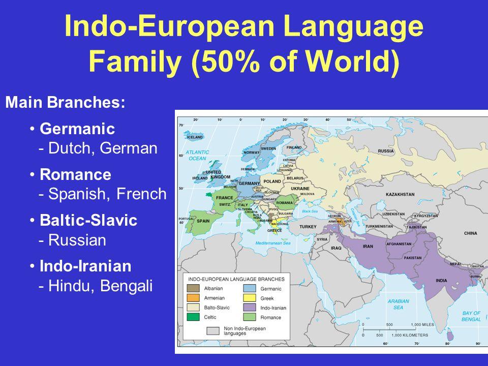 Indo-European Language Family (50% of World) Main Branches: Germanic - Dutch, German Romance - Spanish, French Baltic-Slavic - Russian Indo-Iranian - Hindu, Bengali