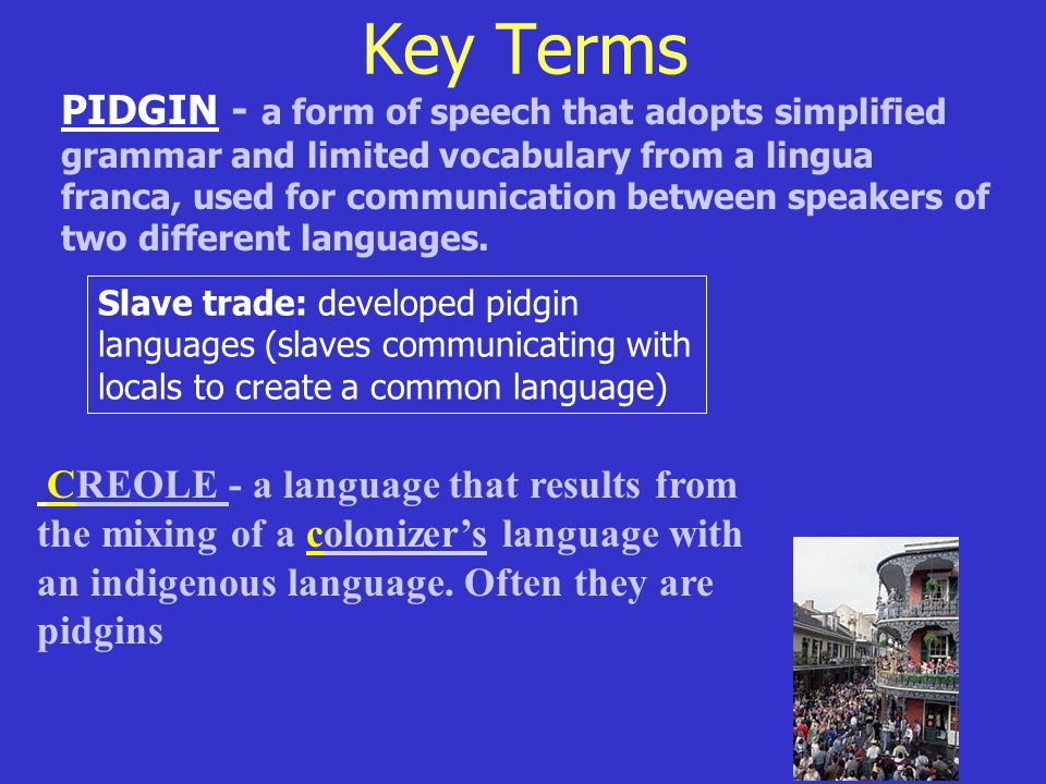 Key Terms PIDGIN - a form of speech that adopts simplified grammar and limited vocabulary from a lingua franca, used for communication between speakers of two different languages.