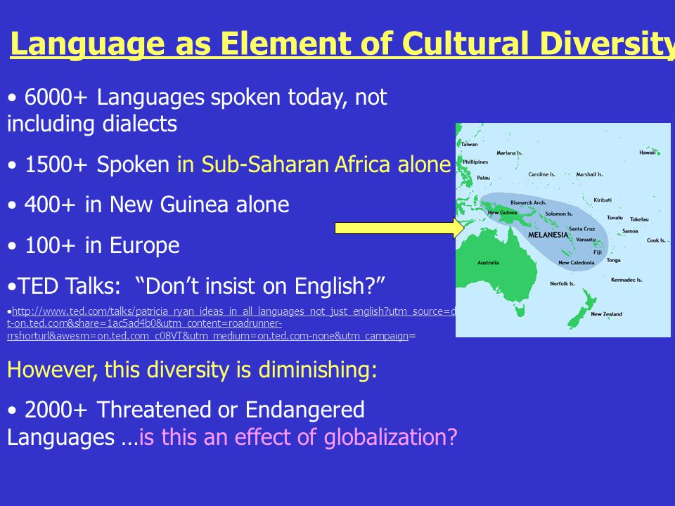 Language as Element of Cultural Diversity 6000+ Languages spoken today, not including dialects 1500+ Spoken in Sub-Saharan Africa alone 400+ in New Guinea alone 100+ in Europe TED Talks: Don't insist on English? http://www.ted.com/talks/patricia_ryan_ideas_in_all_languages_not_just_english?utm_source=direc t-on.ted.com&share=1ac5ad4b0&utm_content=roadrunner- rrshorturl&awesm=on.ted.com_c08VT&utm_medium=on.ted.com-none&utm_campaign=http://www.ted.com/talks/patricia_ryan_ideas_in_all_languages_not_just_english?utm_source=direc t-on.ted.com&share=1ac5ad4b0&utm_content=roadrunner- rrshorturl&awesm=on.ted.com_c08VT&utm_medium=on.ted.com-none&utm_campaign However, this diversity is diminishing: 2000+ Threatened or Endangered Languages …is this an effect of globalization?