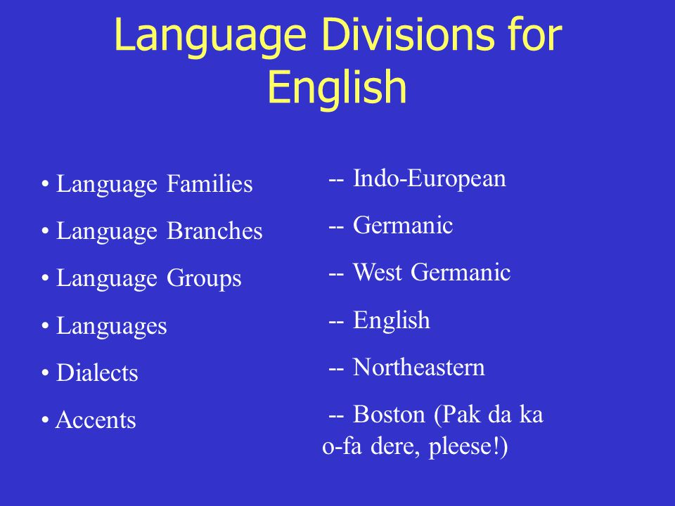 Language Divisions for English Language Families Language Branches Language Groups Languages Dialects Accents -- Indo-European -- Germanic -- West Germanic -- English -- Northeastern -- Boston (Pak da ka o-fa dere, pleese!)