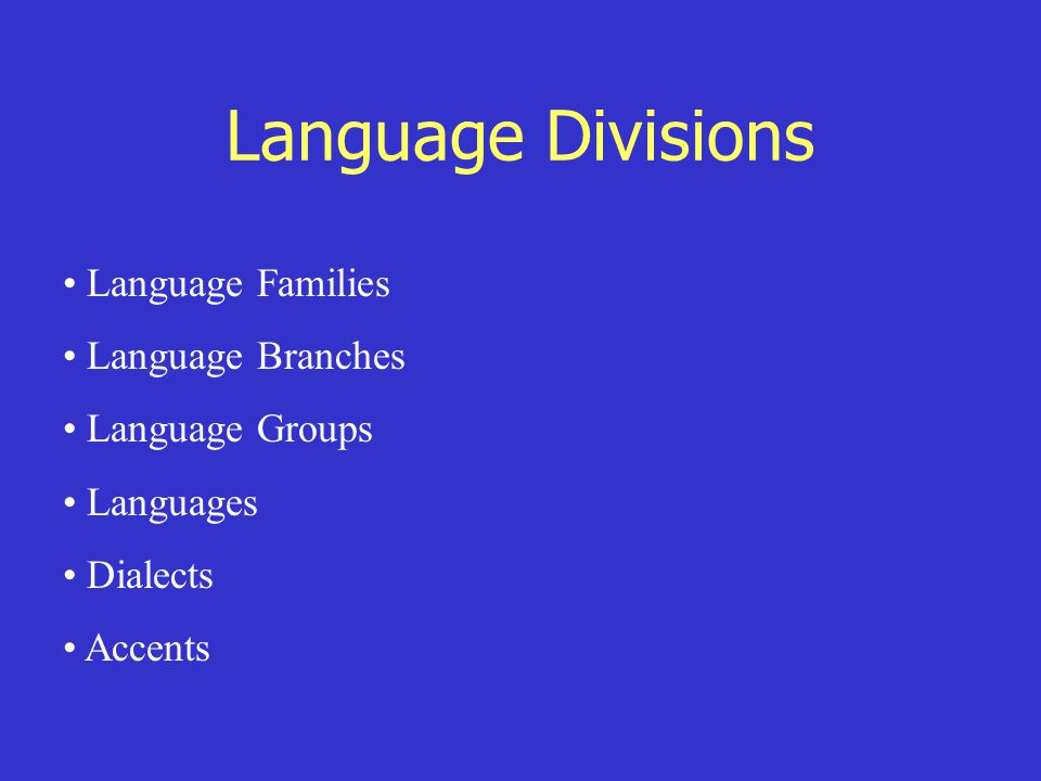 Language Divisions Language Families Language Branches Language Groups Languages Dialects Accents