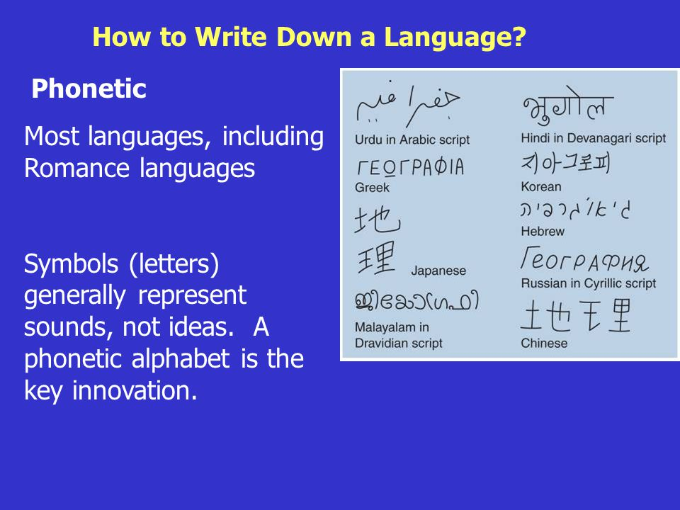 Roots of Language How to Write Down a Language.
