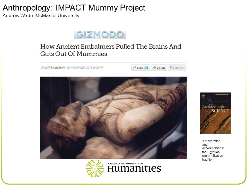 Anthropology: IMPACT Mummy Project Andrew Wade, McMaster University Evisceration and excerebration in the Egyptian mummification tradition