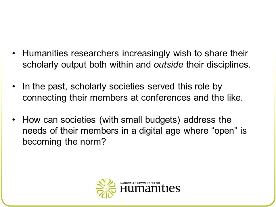 Humanities researchers increasingly wish to share their scholarly output both within and outside their disciplines.