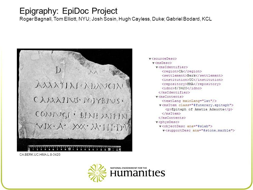 Epigraphy: EpiDoc Project Roger Bagnall, Tom Elliott, NYU; Josh Sosin, Hugh Cayless, Duke; Gabriel Bodard, KCL CA.BERK.UC.HMA.L.8-3420